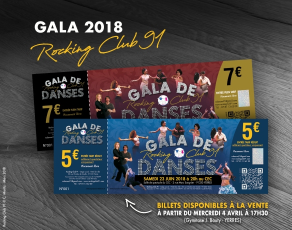 Rocking Club 91 - Gala du 23 juin 2018 - Mise en vente des entrées