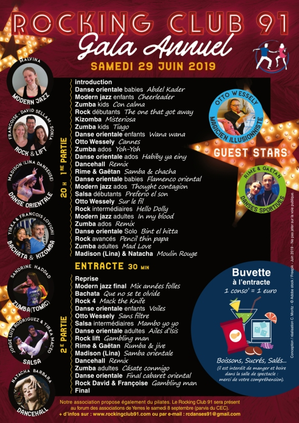 Programme du Gala du Rocking Club 91 - 29 juin 2019